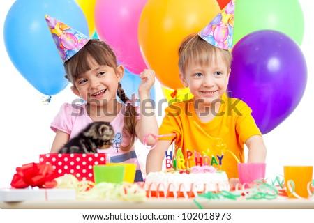 happy kids girl and boy celebrating birthday party - stock photo