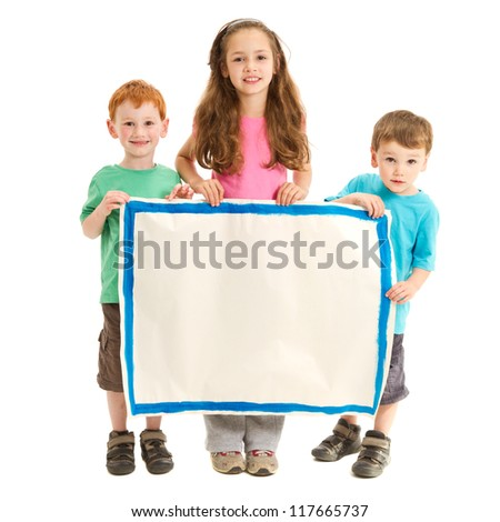 Happy kids holding blank sign. Isolated on white. - stock photo
