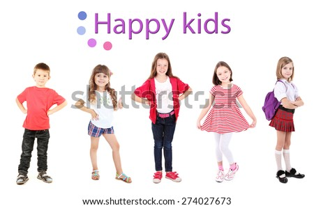 Happy kids isolated on white - stock photo