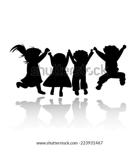 happy kids jumping; silhouette illustration - stock photo