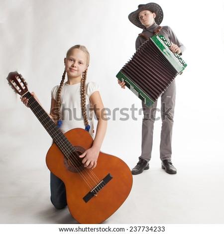 Happy Kids Music Band Isolated on White Background - stock photo