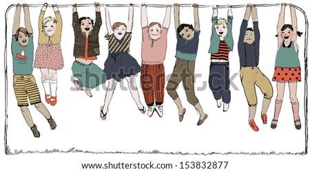 Happy kids on a horizontal bar colorful illustration - stock photo
