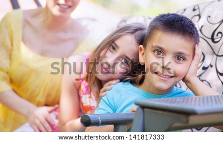 Happy kids posing - stock photo