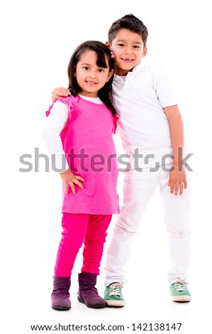 Happy kids smiling - isolated over a white background - stock photo