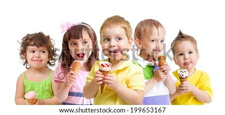 happy kids with ice cream isolated - stock photo