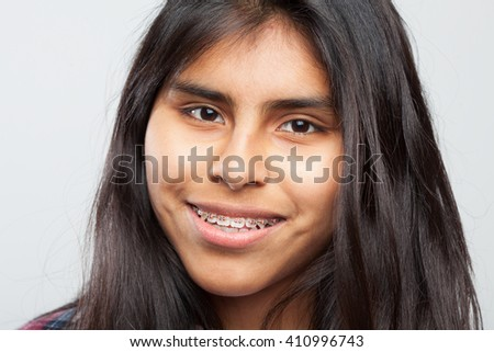 happy latin girl closeup - stock photo