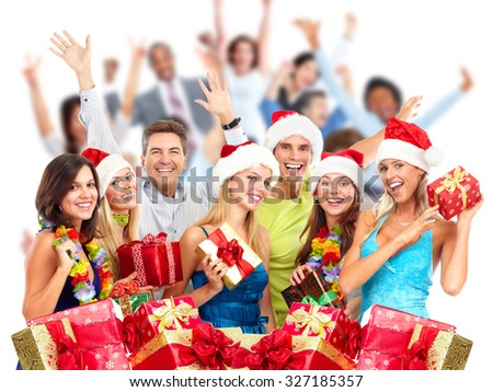 Happy laughing Christmas people crowd with gifts. Xmas party. - stock photo