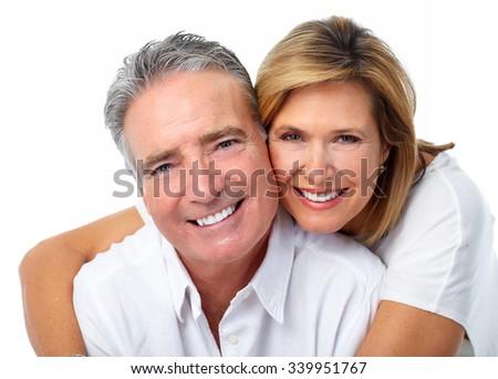 Happy laughing elderly couple isolated white background. - stock photo