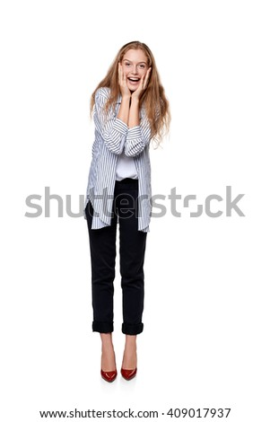 Happy laughing female in full length over white background - stock photo
