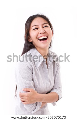 happy, laughing woman - stock photo
