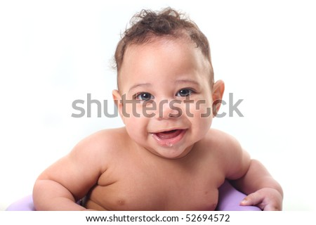 Happy Little Baby Boy Sitting up Smiling Against White Background - stock photo