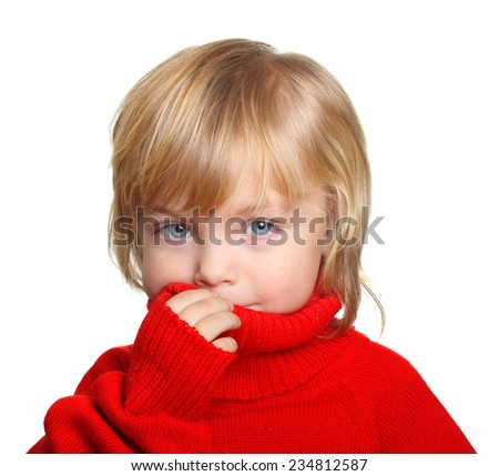 Happy little boy in red sweater isolated on white background - stock photo