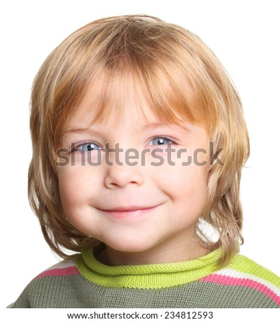 Happy little boy in sweater isolated on white background - stock photo