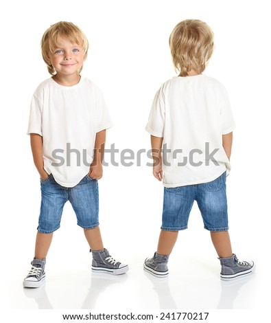 Happy little boy isolated on white background - stock photo