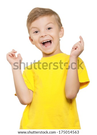 Happy little boy over white background - stock photo