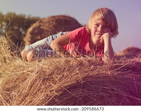 Happy little boy sitting on a haystack summer day. - stock photo