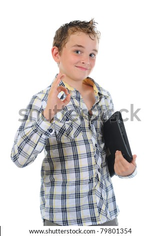 Happy little boy with laptop. Isolated on white background - stock photo