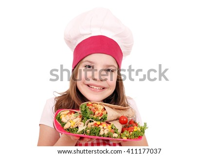 Happy little girl cook with burritos fast food - stock photo