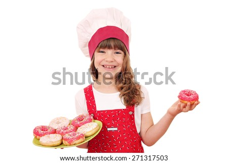 happy little girl cook with donuts - stock photo