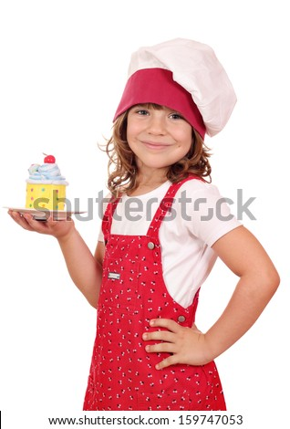 happy little girl cook with sweet colorful cupcake - stock photo