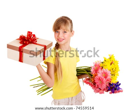 Happy little girl holding gift box and flowers. - stock photo