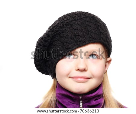 Happy little girl in hat isolated. - stock photo