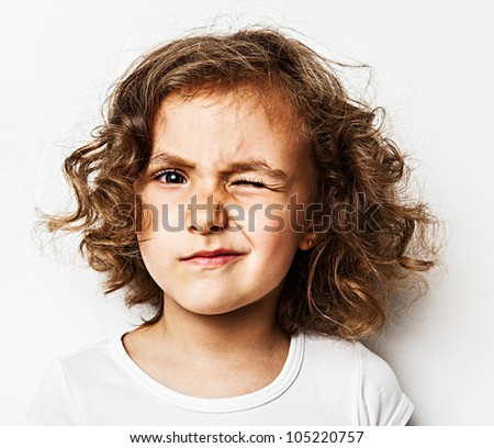 happy little girl  in studio - stock photo
