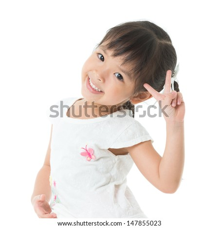 happy little girl, isolated on white - stock photo