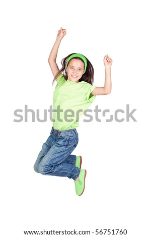 Happy little girl jumping isolated on white background - stock photo