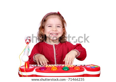 happy little girl play music - stock photo