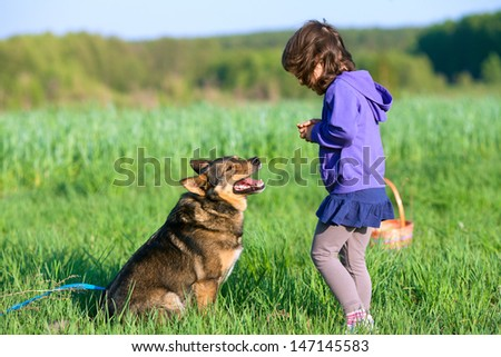 Happy little girl playing with dog on the field - stock photo