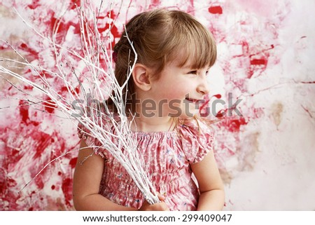 happy little girl portrait, artistic style - stock photo