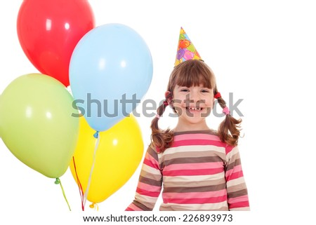 happy little girl with balloons birthday party - stock photo