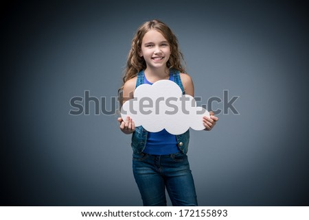 Happy little girl with bubbles - stock photo