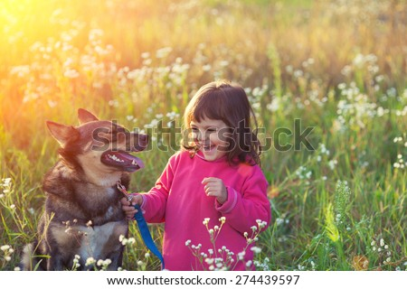 Happy little girl with dog in the meadow at sunset - stock photo