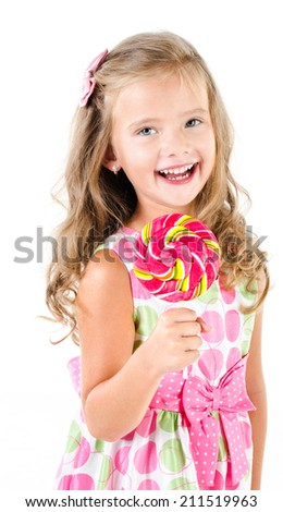 Happy little girl with lollipop isolated on a white - stock photo