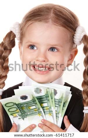 Happy little girl with money euro. Isolated. - stock photo