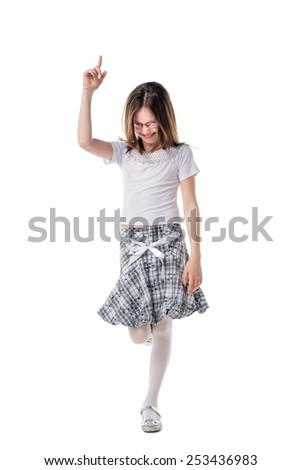 Happy little girl with raised up hand. Idea and succes concept - stock photo