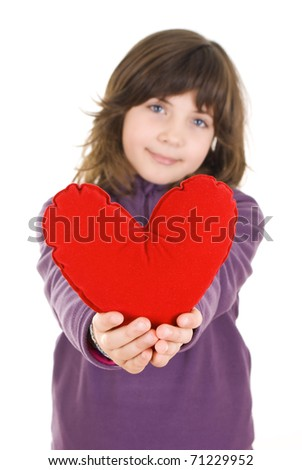 Happy little girl with red valentines heart - isolated - stock photo