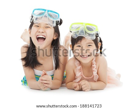 happy little girls with swimsuit - stock photo