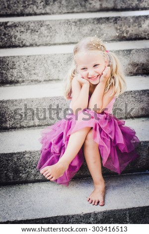 Happy little princess. Selective focus. - stock photo