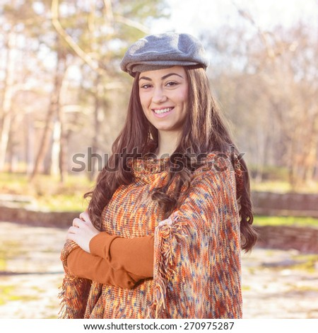 Happy Lovely Beautiful Girl Portrait in the park.Caucasian female winter autumn outdoor. - stock photo