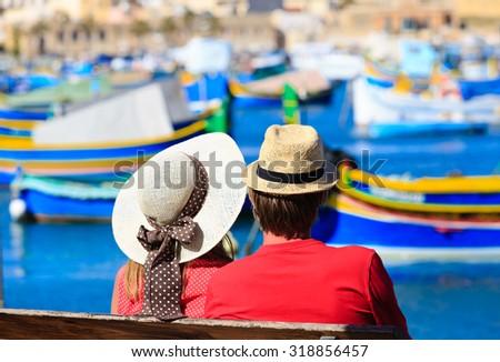 happy loving couple on vacation in Malta, Europe - stock photo