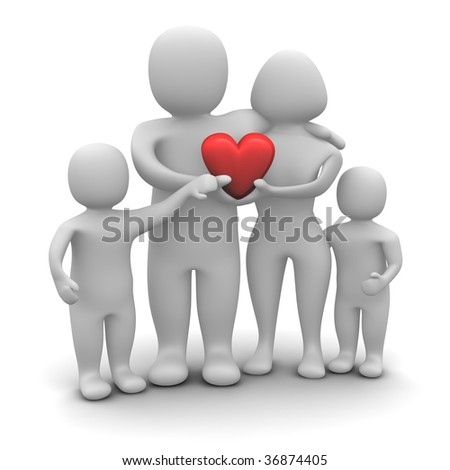 Happy loving family. 3d rendered illustration isolated on white. - stock photo