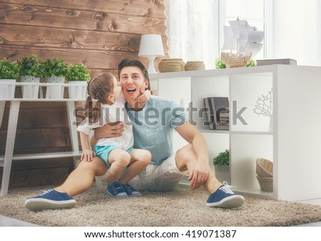Happy loving family. Father and his daughter child girl playing and hugging. Concept of Father's day. - stock photo