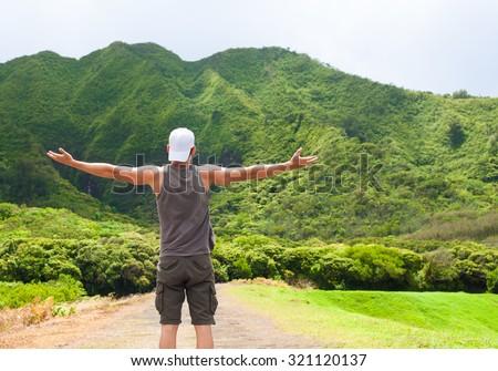 Happy male hiker. - stock photo