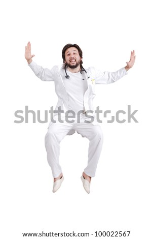 Happy male nurse or doctor full of happiness jumping - stock photo