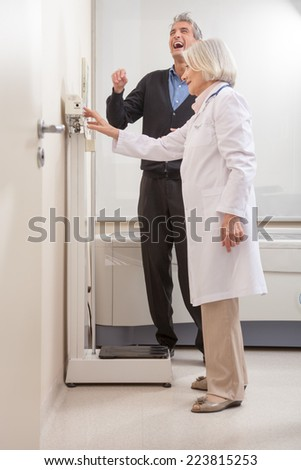 Happy male patient after medical examination. - stock photo