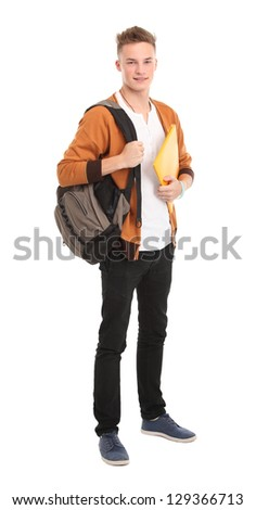 Happy male student smiling - isolated over a white background - stock photo