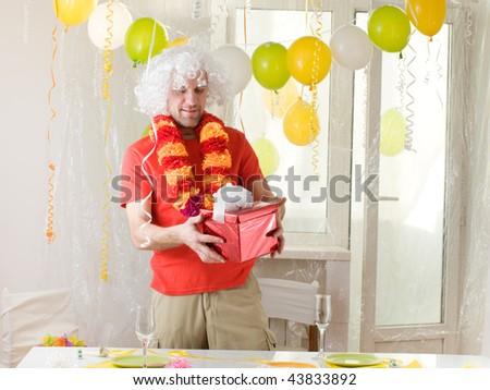 happy man at his birthday - stock photo